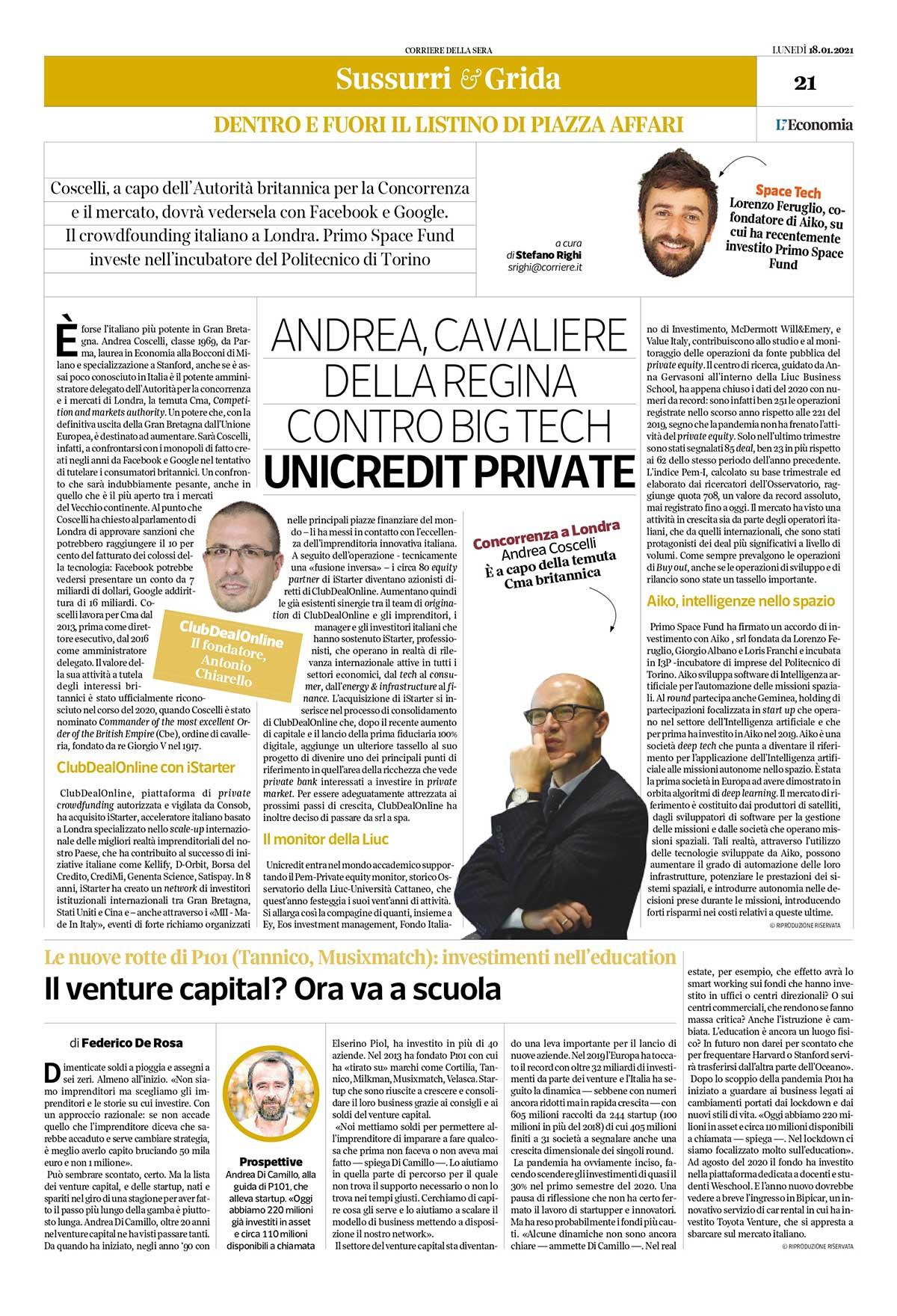ClubDeaOnline iStarter Corriere