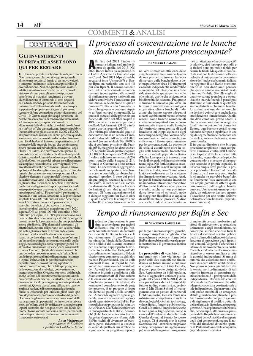 Articolo Milano Finanza Luca Valaguzza ClubDealOnline
